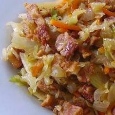 garlic recip, onions, absolut delici, food, of eating garlic, kid dinner recipes, fri cabbag, bacon, fried cabbage recipes