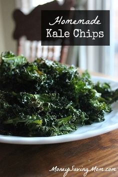 Homemade Kale Chips. A good way to get in your veggies by disguising them. Crunchy and salty. Can be whipped up quickly in the oven.