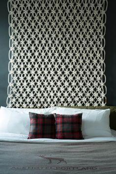 Sally England's awesome modern macrame as headboard...ace hotel pdx room 420 by Sally England, via Behance