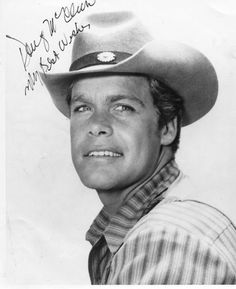 """Doug McClure as 'Trampas' in The Virginian (1962-71, NBC) Douglas Osborne """"Doug"""" McClure (May 11, 1935 – February 5, 1995) was an American actor whose career in film and television extended from the 1950s to the 1990s. He is best known for his role as the cowboy Trampas during the entire run from 1962 to 1971 of the NBC western television series, The Virginian, loosely based on the Owen Wister novel."""