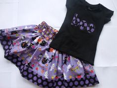 Girls Halloween Skirt Set Toddler Twirly Purple Black Twirly Halloween Skirt Set Applique Top