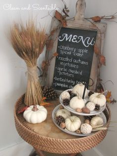 Fall and Thanksgiving Decorating - Lot of ideas to decorate your home for fall and Thanksgiving.