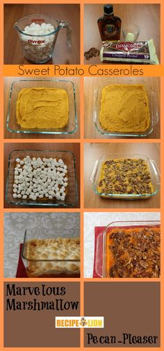 pecan top, marshmallow top, potato casserol, sweet potato
