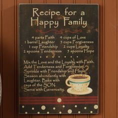 Recipe For A Happy Family Sign