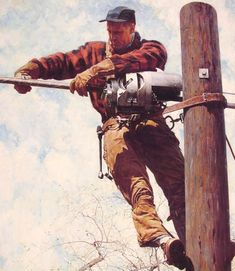 The Lineman by Norman Rockwell #art