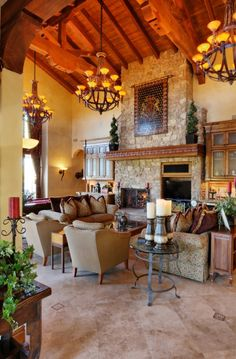 Gorgeous Old World Style Estate -  Great Room - high beamed ceilings, stone fireplace