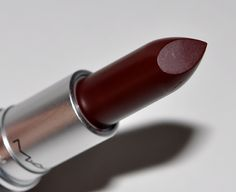 MAC Media Lipstick. LOVE this color, a blackened wine red. Even though it's dark, it goes on evenly and has a pretty glow. No patchy application here! lipsticks, winter lipstick colors, red mac lipstick, wine red lipstick, wine colored lipstick, vampy lipstick, lipstick review, mac media lipstick, medium
