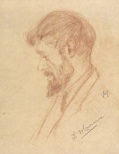 D.H. Lawrence, by Maria Hubrecht, chalk, 1920-192. National Portrait Gallery