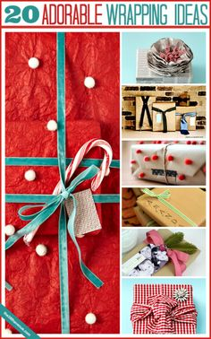 20 cute wrapping ideas at the36thavenue.com. I love these! #gifts #christmas #wrapping
