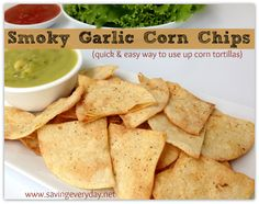 Homemade Smoky #Garlic Corn #tortilla Chips #snacks