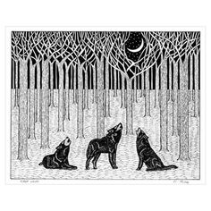 Forest Wolves Wall Art Poster
