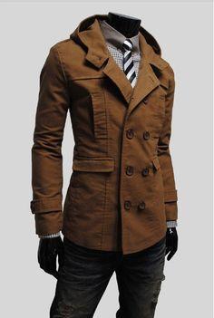 Mens Stylish Double Breasted Trench Coats Long Jackets Top Overcoat Peacoat on Etsy, $85.95