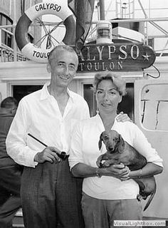 Jacques Cousteau and his wife with Bulle