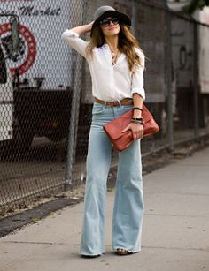 jean, envelopes, clutches, outfit, bells, street styles, daughters, hat, style fashion