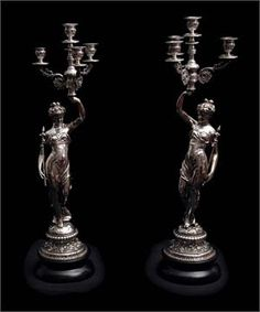 TWO FRENCH 19th CENTURY SILVER PLATED BRONZE CANDELABRA - circa 1870s  Price: $7,789.00