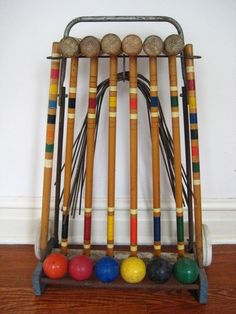 vintage croquet set....loved playing this with the family :) good times....of course there was ALWAYS cheating :) LOL