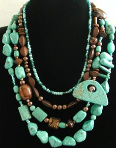 Turquoise And Copper Necklace.  I still have some turquoise....may have to make  this.