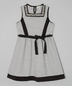 Black & White Stripe Dress by Monteau Girl #zulily #zulilyfinds
