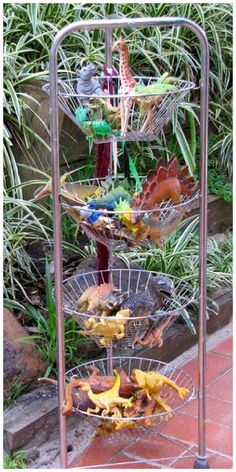 Leave plastic animals in a bin outside (near the garden, next to the sandbox, next to a patch of trees, etc) -- when children go outside to play, they can use them and let their imaginations run wild! My recommendation: the children should only play with these toys outside -- that way, they'll look forward to playing outside -- make sure they run around too ;)