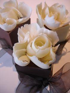 chocolate box with pure chocolate flowers