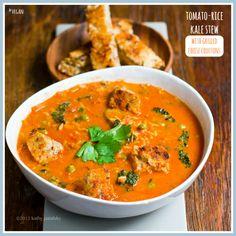 Rustic Tomato Rice Kale Stew - Vegan