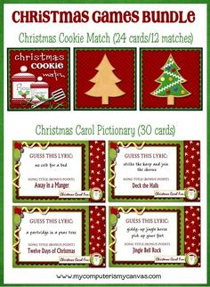 Christmas Carol Pictionary Printable by mycomputerismycanvas