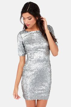 Global DJ Silver Sequin Dress at LuLus.com - this would be a great work Christmas party dress ;)