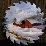 paint sawblad, blade art, decor paint, paint idea, barn round, craftsss, winter barn, barns, thing