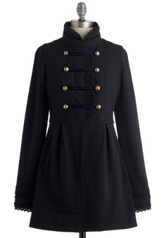 Regiment to Be Coat by Knitted Dove - Black, Solid, Buttons, Lace, Pockets, Long Sleeve, 2, Trim, Military, French / Victorian, Fall, Long