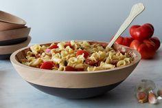 Summer Pasta alla Caprese pasta alla, handdip beech, pasta salad, potluck dishes, potluck recipes, beech wood, gluten free pasta, wood bowls, alla capres