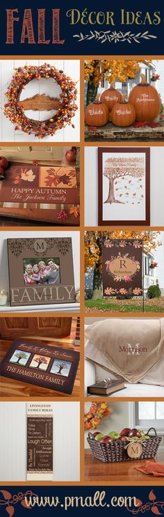 10 Beautiful Fall Décor Ideas from Personalization Mall ... they have the best personalized gifts!