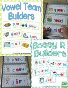 Great bundle for your word work center $ Includes: short vowels, bossy r, silent e and vowel teams.
