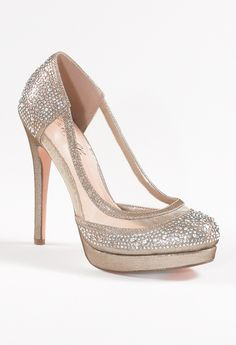 High Heel  Mesh and Satin Pump with Stones from Camille La Vie