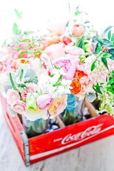 a big box of beautiful florals from one of our faves, http://amyosaba.com  Photography by http://carlagatesphotography.com
