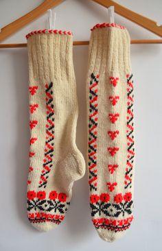 Sukan / Natural hand knit wool socks from Turke-