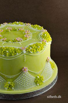 cake idea, australian stringwork, stringwork australien, green cake, stringwork cake, cake artistri