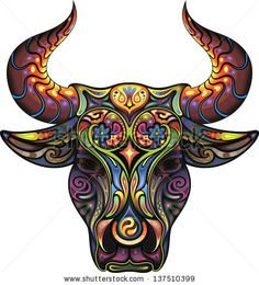 Bull. Silhouette of a head of a Bull collected from plant ornament variegated colors. by cupoftea, via Shutterstock