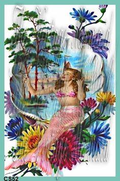 mermaid fabric, block mermaid, retro mermaid, mermaid quilt