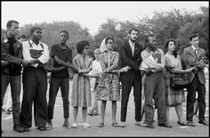 USA. Washington, D.C. August 28, 1963. Marian Wright EDELMAN (center, wearing scarf) and others during the March on Washington. By Leonard Freed.