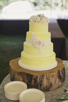 yellow rustic wedding cake
