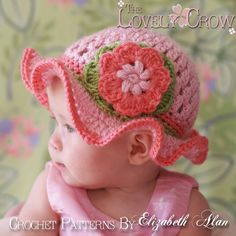 Free Crochet Baby Hat Patterns | Baby Girl Sun Hat Crochet Pattern for Teaparty Hat - sizes from ...