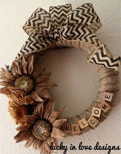 Burlap Wreath 12 Fall Burlap Wreath with by LuckyInLoveDesigns