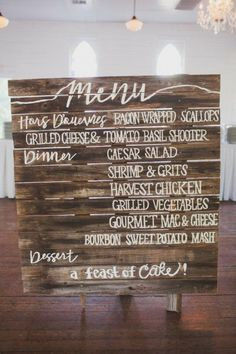 wood pallet menu Photography by Taylor Lord Photography / http://taylorlord.com