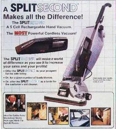 Here's a fun ad from the late 1980's promoting the Split Second – a hand held vacuum to compliment the main Kirby system. #history