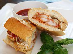 dinner, shrimp parmigiana, heroes, shrimp parmesan hero, hot sandwiches, hot weather meals, parmigiana hero, seafood recip, skinny recipes
