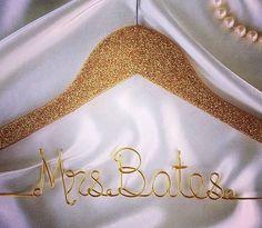 personalized hangers, glitter hanger, bridal hangers, bride