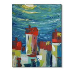The Moonlight Town - FREE SHIPPING - Original Oil Painting on Canvas Palette Knife - by SOLOMOON - gallery fine art home wall decor ready to hang 16x20 impasto painting online square painted sides on etsy