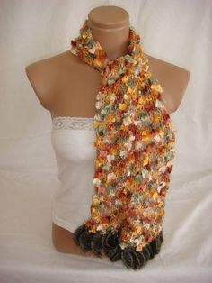 Hand knitted multicolor elegant scarf by Arzus on Etsy, $23.90