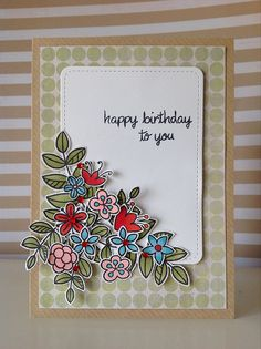 Lawn Fawn - Blissful Botanicals, Stitched Journaling Card _ Pretty floral card by Fiona via Flickr - Photo Sharing!