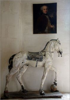 hous design, horses, carousel horse decor, countri live, antiqu hors, live room, equin decor, thing, wooden hors